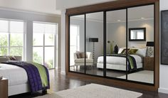 Mirrored sliding doors with black trim