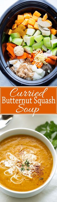 Smooth creamy and super comforting curried Butternut Squash Soup made in the slow cooker. Granny smith apples onions and carrots give this soup such a nice well rounded flavor. A hint of cream makes it so comforting and luxurious!