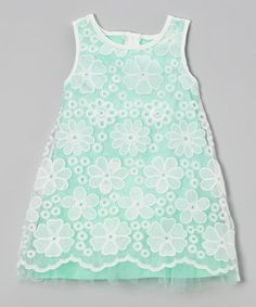 Love this Mint & White Lace Overlay Shift Dress - Toddler & Girls on #zulily! #zulilyfinds