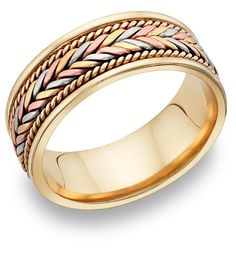 14K Tri Color Gold Woven Wedding Band Ring