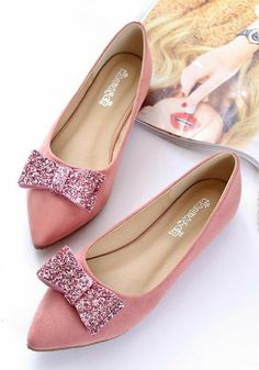 2017 New Fashion bow pointed toe ballet flat shoes women flats shoes woman big size 43 Cute Casual Shoes, Cute Flats, Cute Shoes, Me Too Shoes, Flat Dress Shoes, Flat Shoes, Shoes Heels, Pretty Shoes, Beautiful Shoes