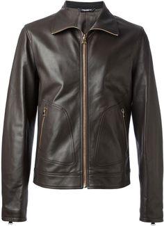 $2,201, Dark Brown Leather Bomber Jacket: Dolce