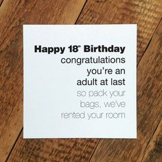 Funny 18th Birthday Card Youre An Adult At Last For Him GC130
