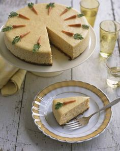 Easter Dessert Recipes | Martha Stewart Living - This rich cheesecake topped with marzipan carrots reinvents warm spices and cream cheese icing (carrot cake's best features).