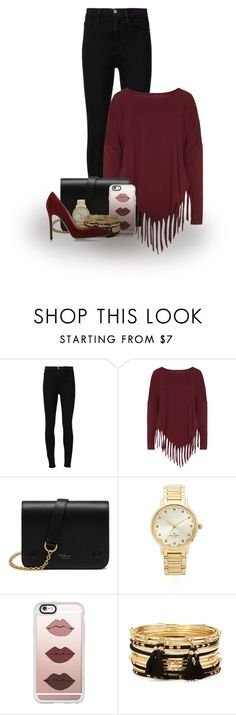 """Fringe top"" by abigaillieb ❤ liked on Polyvore featuring Frame Denim, Boris, Mulberry, Kate Spade, Casetify, Forever 21 and Gianvito Rossi"
