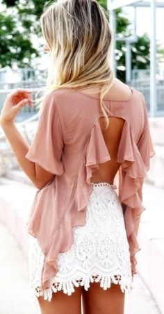 open back and lace skirt