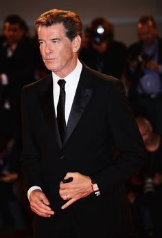 Pierce Brosnan sporting a Reverso Squadra Hometime, Pink Gold, Venice, 2nd September