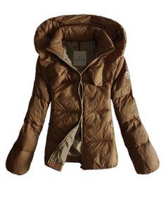 Moncler Winter Jackets Women Pure Color Khaki Double Collar! Only $258.9USD