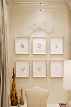 Framed quartz minerals with acrylic antlers... Karen Giffel ASID; LIDL
