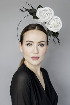 """Halo Headpiece with Roses, Fascinator for the Races, Garden Parties, Wedding Millinery, Headpiece with Feathers - 'Rose Halo"""" Wedding Hats, Headpiece Wedding, Wedding Garters, Wedding Veils, Bridal Headpieces, Bridal Hair, Silk Roses, Silk Flowers, Black Curls"""