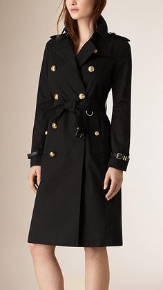 Black Military Button Cotton Gabardine Trench Coat - Image 1