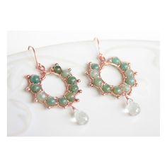 Green flower earrings ❤ liked on Polyvore