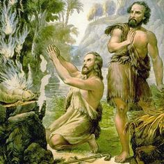 Meet Cain: Adam and Eve's First-Born Son: The sacrifice of Cain and Abel (circa 1800).