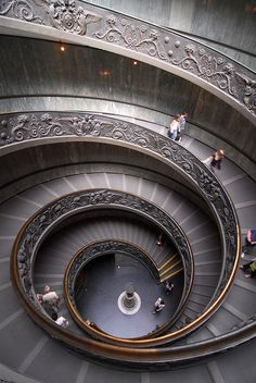 Double spiral staircase in Rome, The Vatican, 1932, by Giuseppe Momo