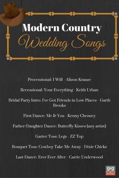 Modern Country Wedding Songs.