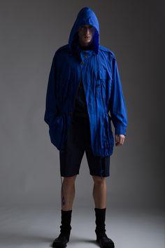Vintage Issey Miyake Nylon Parka, Yves Saint Laurent Men's Linen Shirt, Phillip Lim Men's Shorts. Designer Clothing Dark Minimal Street Style Fashion