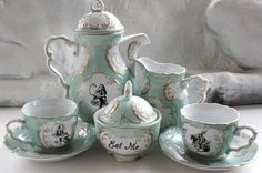 Alice in Wonderland Green and Gold Tea Set, Available in Pink or Green, Lewis Caroll Coffee Outside Tiles, Alice Tea Party, Tile Murals, Gothic House, Victorian Gothic, Vintage Plates, Cup And Saucer Set, Green And Gold, Blue Green