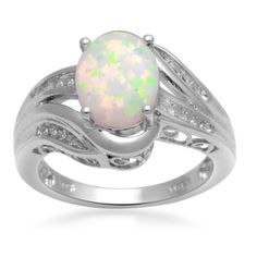 !# Jewelili Sterling Silver Bridge Ring with Created Opal and Diamond, Ring Sz 7.   Best under    Price: $149.99    .Check Price >> http://xoxowatches.us/shop.php?i=B007OXJ9LC