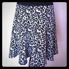 Rebecca Taylor leopard print Leo skirt Black and white flip skirt Rebecca Taylor Skirts Circle & Skater