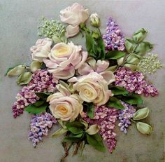 Roses and lilacs #ribbonEmbroidery