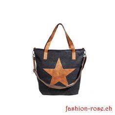 Sehr schöne Tasche in Stoff mit Stern Applikation online bei Fashion-rose Tote Bag, Bags, Rose, Fashion, Beautiful Bags, Stars, Handbags, Schmuck, Black