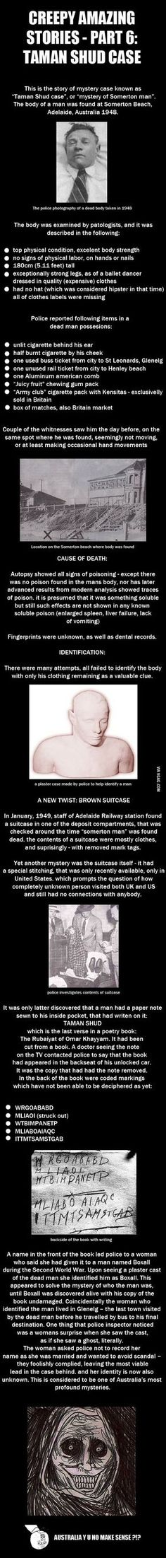 Creepy Amazing Stoires Pt 6: Taman Shud Case