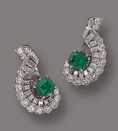 ND DIAMOND EARCLIPS, CARTIER , CIRCA 1950