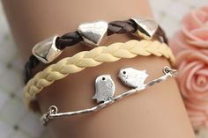 Bird bracelet,retro silver lover birds on the branch with love heart Pandora bead,brown and yellow leather braid bracelet---B179, $8.99