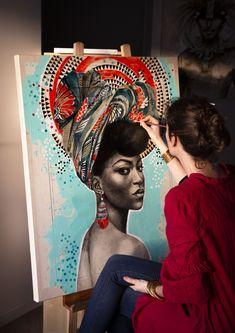 French artist portraying the world Art Mini Toile, Studios D'art, Images D'art, L'art Du Portrait, Afrique Art, Black Art Painting, Ledoux, Propaganda Art, Oil Pastel Paintings