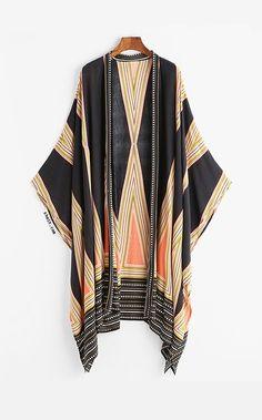 Geo Print Kimono #beachstylesfashion