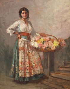 Despre cărţi, muzică, pictură şi oameni!: Pictori români - Florăresele lui Nicolae Vermont Gustave Courbet, Vermont, Folk Fashion, Flower Market, Watercolor Techniques, Figure Painting, Impressionist, New Art, Opera