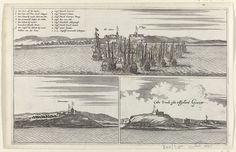 Anonymous | El Mina, Cormantijn en het eiland Goeree, Anonymous, c. 1665 - c. 1670 | Blad met drie voorstellingen, juli 1665. Boven: de Nederlandse vloot onder admiraal Michiel de Ruyter met drie veroverde Engelse schepen voor kasteel St. Iago te Elmina, linksboven de legenda a-n.; linksonder: gezicht op het fort Cormantijn aan de Afrikaanse Goudkust; rechtsonder: gezicht op het eiland Goeree in de Cabo Verde voor de kust van Senegal.