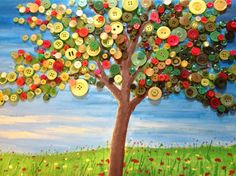 Button Tree! Button Tree Canvas, Button Tree Art, Button Art, Diy Buttons, Buttons Ideas, Diy Art Projects Canvas, Hobbies And Crafts, Arts And Crafts, Elderly Crafts