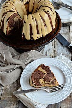 salted caramel pb swirl bundt cake