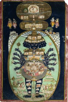"magictransistor: ""Krishna in Cosmic Form. Krishna is depicted here in his cosmic form as Vishnu, centering the Universe with his serpent Sheshnaga beneath. The Pandava and Kaurava armies gather on each side of his feet. Indian Gods, Indian Art, Art Indien, Tantra Art, Southeast Asian Arts, Tarot, Les Religions, Hindu Deities, Hindu Art"