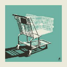 Shopping cart (blue) print by Methane Studios