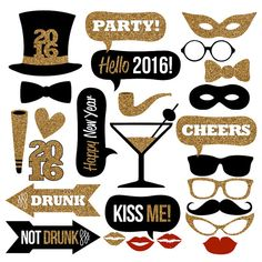 2016 New Year's Eve Photo Booth Props Collection–Printable Instant Download–Black & Gold Glitter Photo Booth Props for New Year's Eve Party