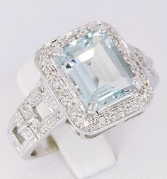 3.0ct Aquamarine & Diamond Real 14K Solid White Gold Wedding Ring