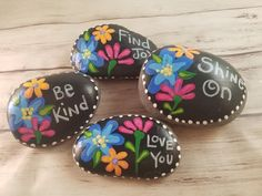 "Painting rocks with positive messages is something I love to do! Hand painted river rocks in various themes, colors, patterns and positive sayings. Perfect for gifts or to ""artfully abandon"" to brighten someone's day. Pebble Painting, Dot Painting, Pebble Art, Stone Painting, Fun Arts And Crafts, Rock Crafts, Diy And Crafts, Recycled Crafts, Decor Crafts"