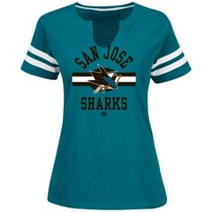 Majestic San Jose Sharks Ladies Sweep Check Slim Fit T-Shirt - Teal