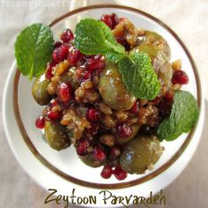 This is Zeytoon Parvardeh a Persian Olive, Pomegranate and Walnut Salad one of my favorites....