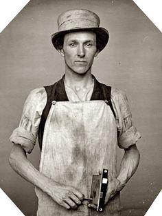 Occupational portrait of a locksmith, Circa 1850s