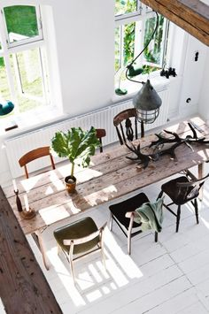 Dining room: long rustic timber dining table with six mismatched vintage chairs, white floorboards, long radiator Interior, Dining, Dining Room Design, Dining Table, Home Decor, House Interior, Dining Room Decor, Timber Dining Table, Dining Room Furniture