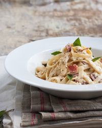 Fettuccine with Goat-Cheese and Salami Sauce | Goat cheese and salami? Yes, the two taste wonderful together and on pasta.