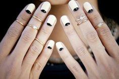 knockout nails: nail art trends think stacking rings  half moon mani