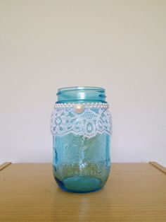 Decorated Mason jar blue vintage with lace and by HHandPinwheels, $6.95