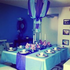 Indoor Dining Table Decor Purple And Blue
