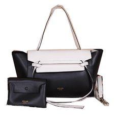 Celine Belt Bag Smooth Calfskin Leather C3396 Black&White - $319.00