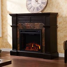 Boston Loft Furnishings 45.5-in W 4700-BTU Ebony Wood Fan-Forced Electric Fireplace with Thermostat and Remote Control