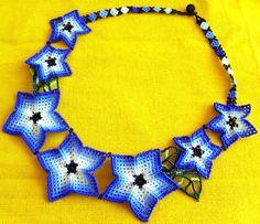 Mexican Huichol Beaded star necklace by Aramara on Etsy